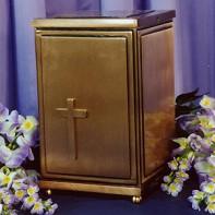 Bronz szögletes, keresztes urna