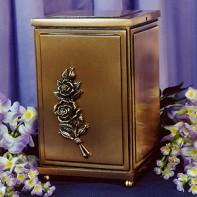Bronz szögletes, rózsás urna