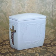Iker fémkeresztes urna