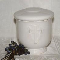 Kerek fehér keresztes urna